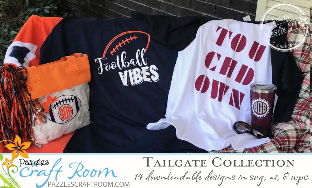 Pazzles DIY Football Designs Tailgate Collection in SVG, AI, and WPC Cutting Files by Leslie Peppers
