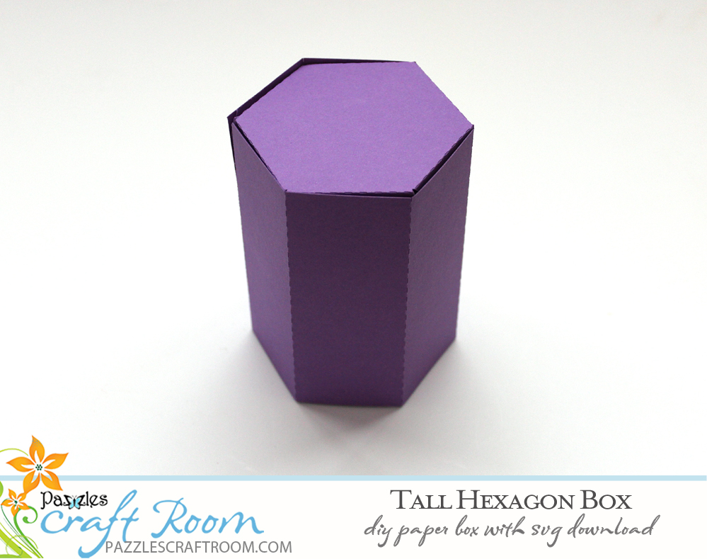 Pazzles DIY Tall Hexagon Box with instant SVG download. Instant SVG download compatible with all major electronic cutters including Pazzles Inspiration, Cricut, and Silhouette Cameo.