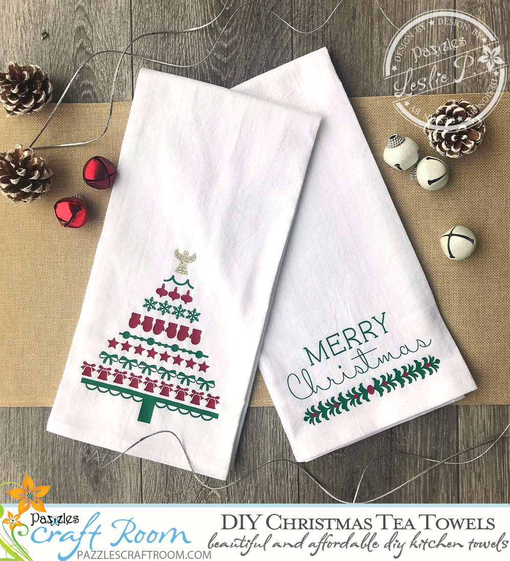 Diy Christmas Tea Towels With Svg Download Pazzles Craft Room