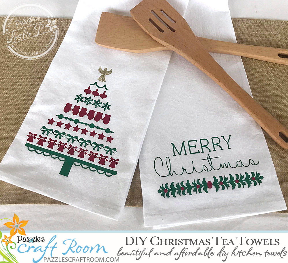 Pazzles DIY Christmas Tea Towels with SVG instant download. Compatible with all major electronic cutters including Pazzles Inspiration, Cricut, and Silhouette Cameo.