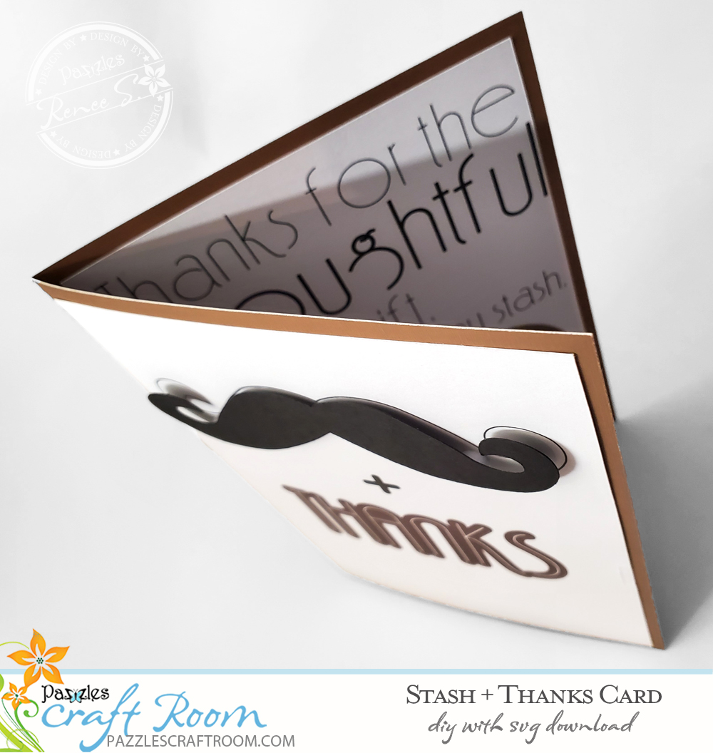 Pazzles DIY Thanks for the Stash Card with instant SVG download. Compatible with all major electronic cutters including Pazzles Inspiration, Cricut, and Silhouette Cameo. Design by Renee Smart.