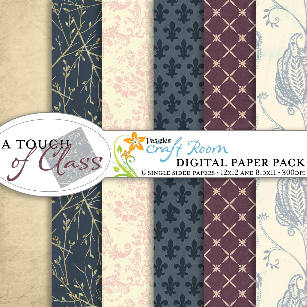 Pazzles DIY Printable A Touch of Class Elegant Digital Paper Collection by Amanda Vander Woude