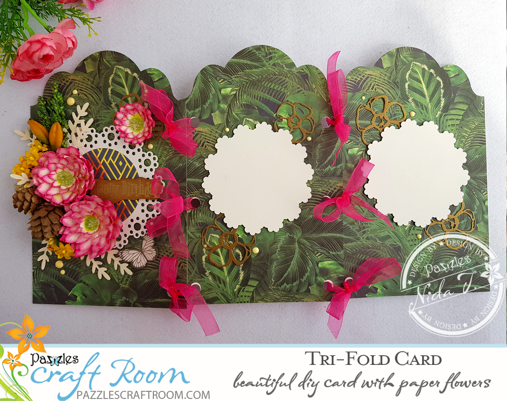 Pazzles Dahlia Lace Happy Birthday DIY Trifold Card with SVG download by Nida Tanweer