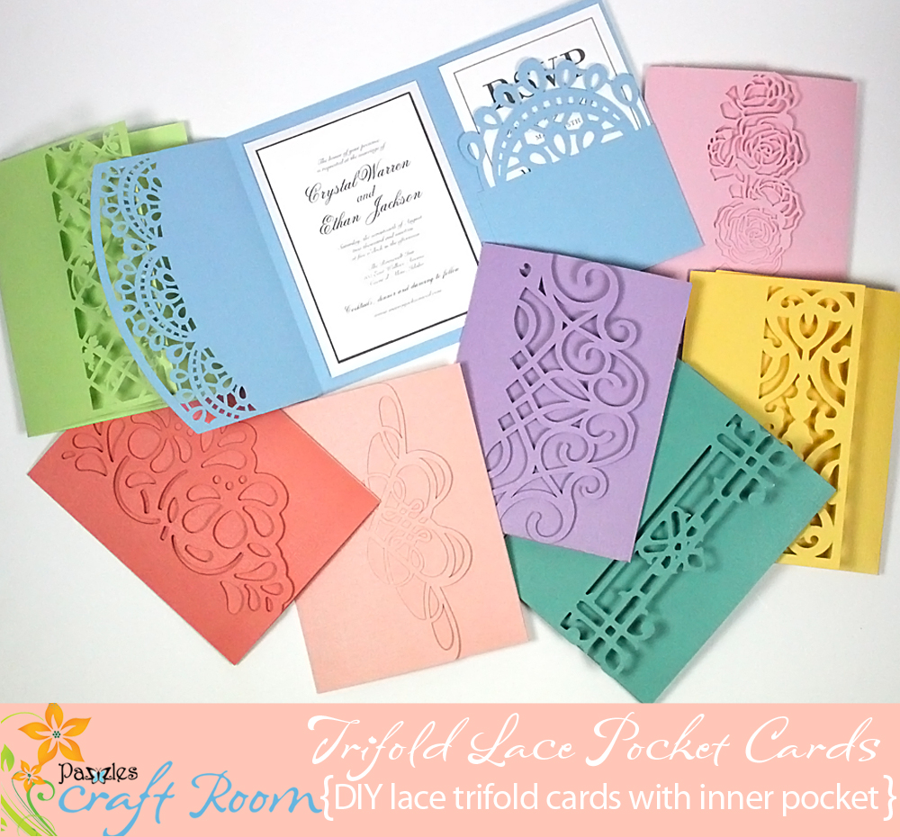 Trifold lace pocket cards collection ai svg wpc pazzles craft room options out there i knew i had only scratched the surface so here is another totally different but equally perfect collection these trifold cards have m4hsunfo