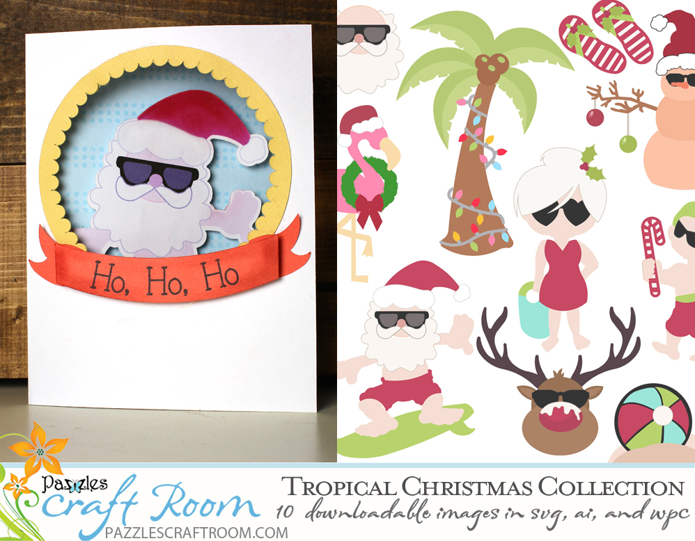 Pazzles DIY Tropical Christmas SVG Cutting Collection. Instant download in SVG, AI, and WPC compatible with all major electronic cutters including Pazzles Inspiration, Cricut, and Silhouette Cameo.