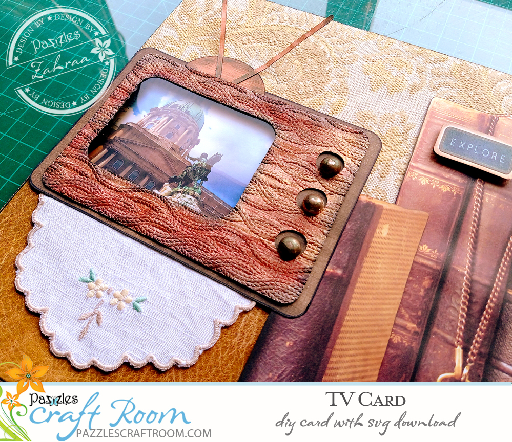 Pazzles Interactive Retro DIY TV Card. Instant SVG download compatible with all major electronic cutters including Pazzles Inspiration, Cricut, and Silhouette Cameo. Design by Zahraa Darweesh.