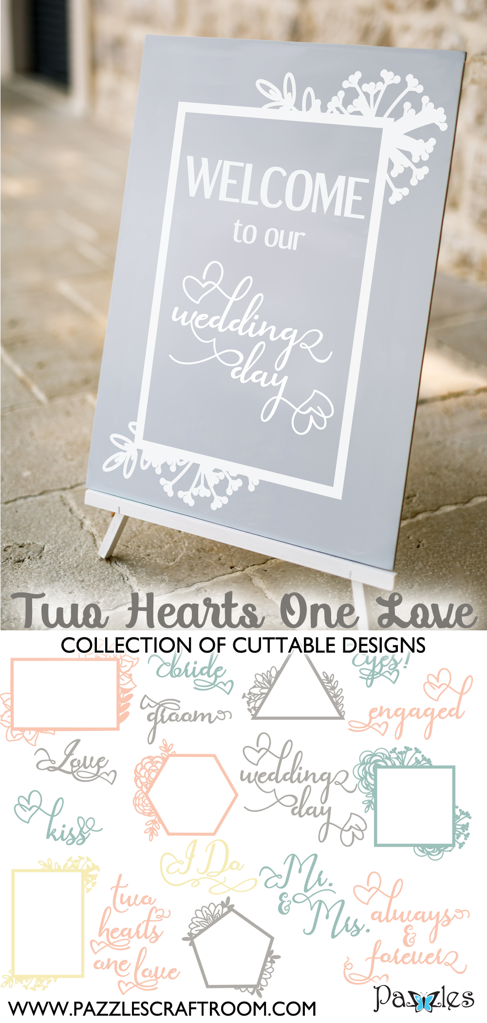 Pazzles DIY Two Hearts One Love Collection 16 cuttable files in SVG, AI, and WPC. Instant SVG download compatible with all major electronic cutters including Pazzles Inspiration, Cricut, and Silhouette Cameo. Design by Amanda Vander Woude.