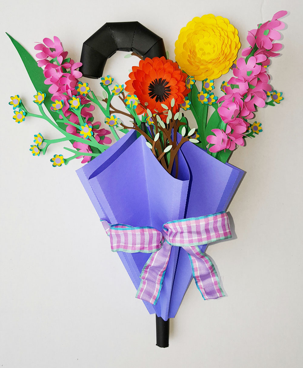 Paper Umbrella and Flowers Garden Wreath