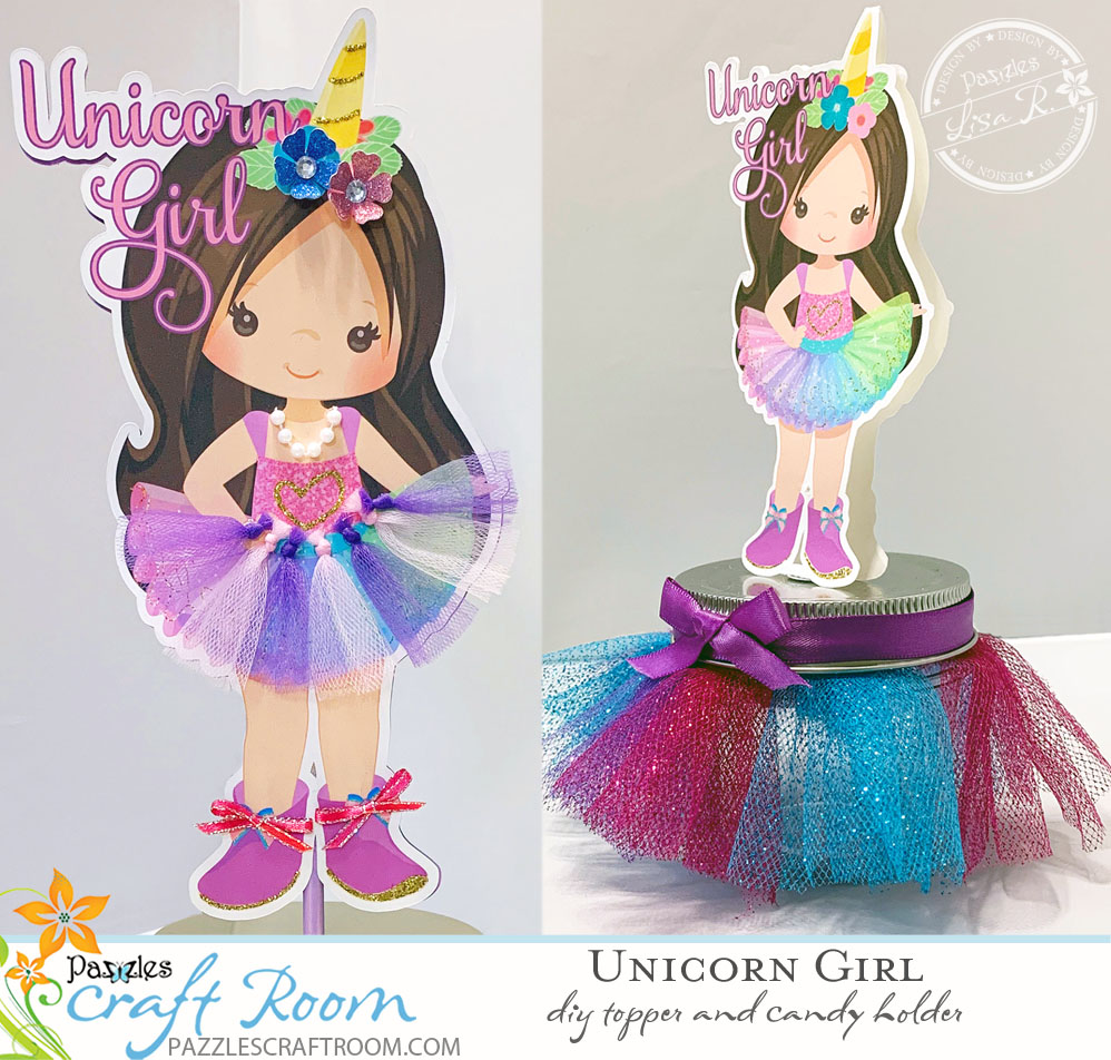 DIY Pazzles Unicorn Girl Topper and Candy Case for DIY Unicorn Party by Lisa Reyna