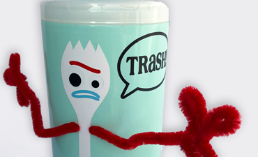 Pazzles DIY Upcycled Trash Container with instant SVG download. Compatible with all major electronic cutters including Pazzles Inspiration, Cricut, and Silhouette Cameo. Design by Alma Cervantes.