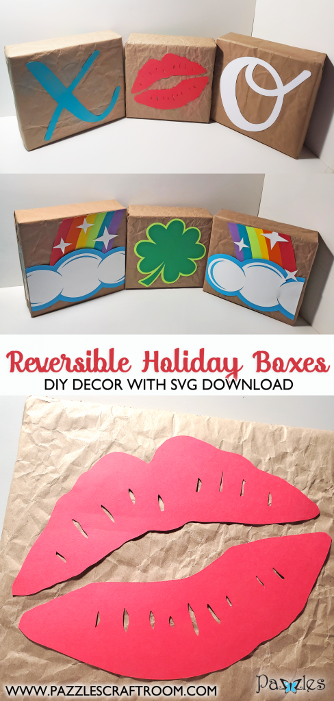 DIY Holiday Reversible Decor Blocks. Instant SVG download compatible with all major electronic cutters including Pazzles Inspiration, Cricut, and Silhouette Cameo. Design by Renee Smart.