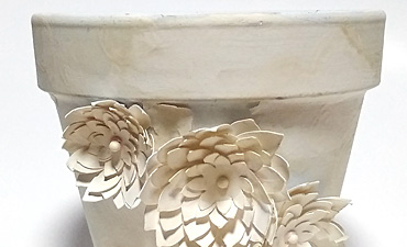 Pazzles DIY Glow in the Dark Vintage Flower Pot with Paper Flowers by Renee Smart