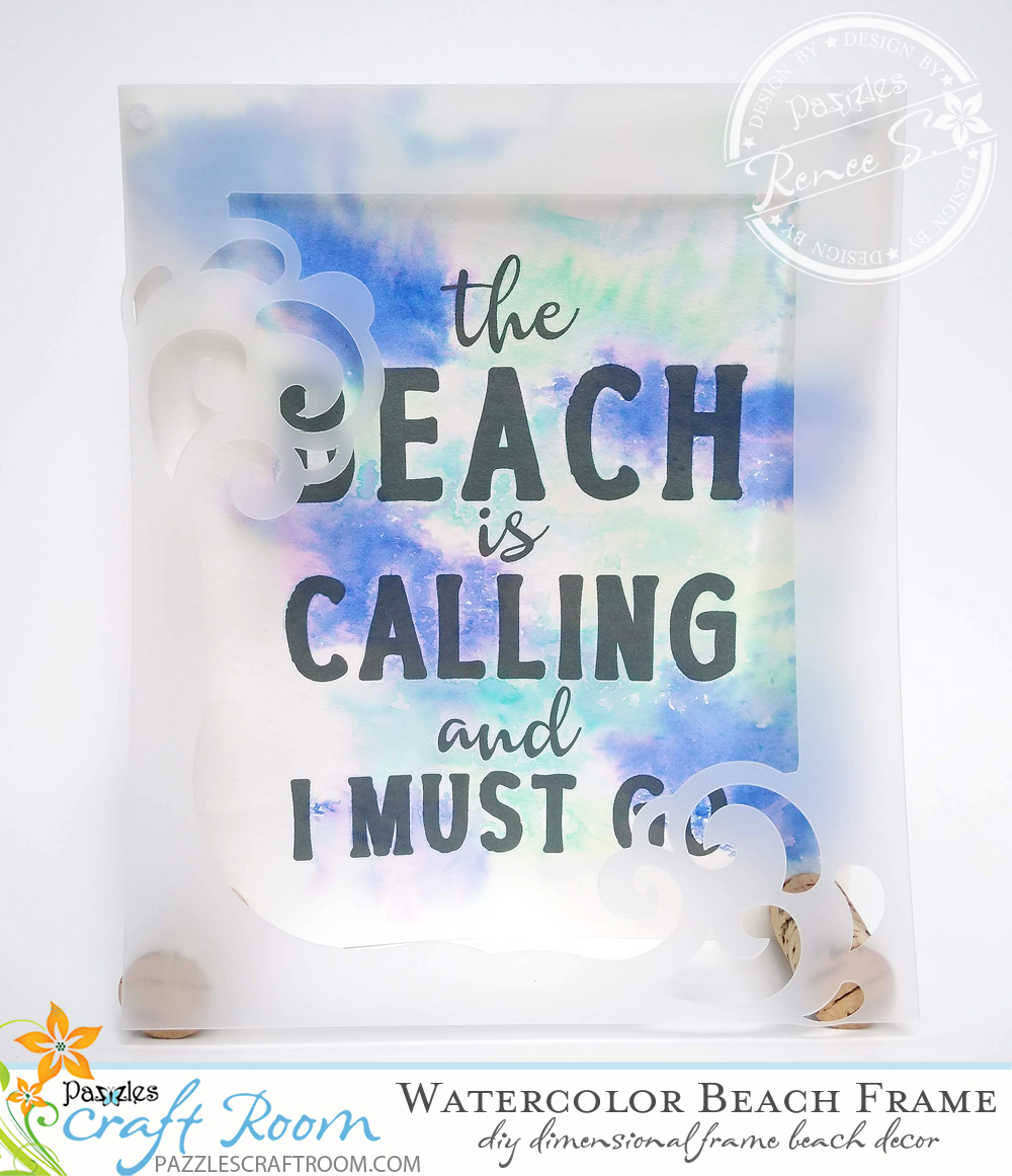 Pazzles DIY Watercolor Beach Frame Quote by Renee Smart