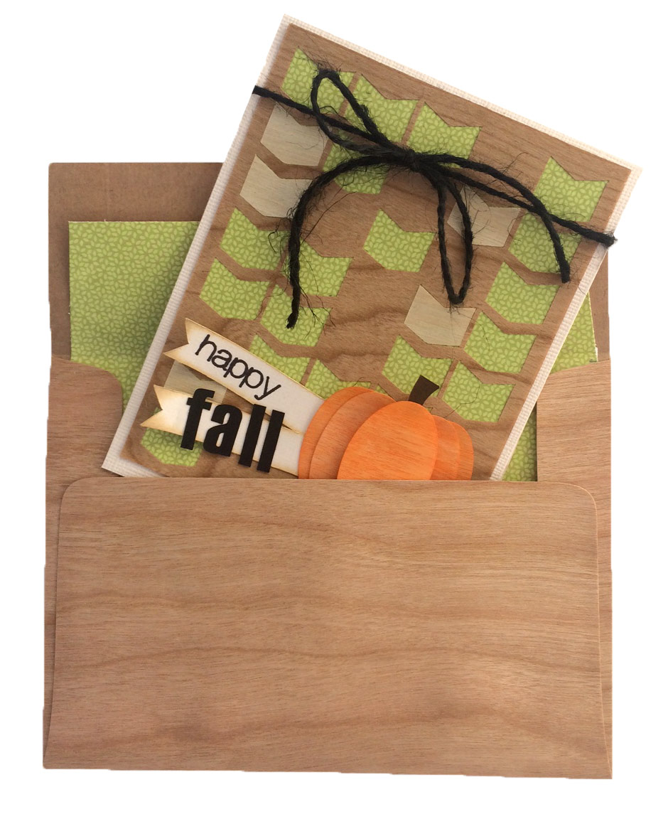 Wood Pumpkin Fall Card and wood envelope