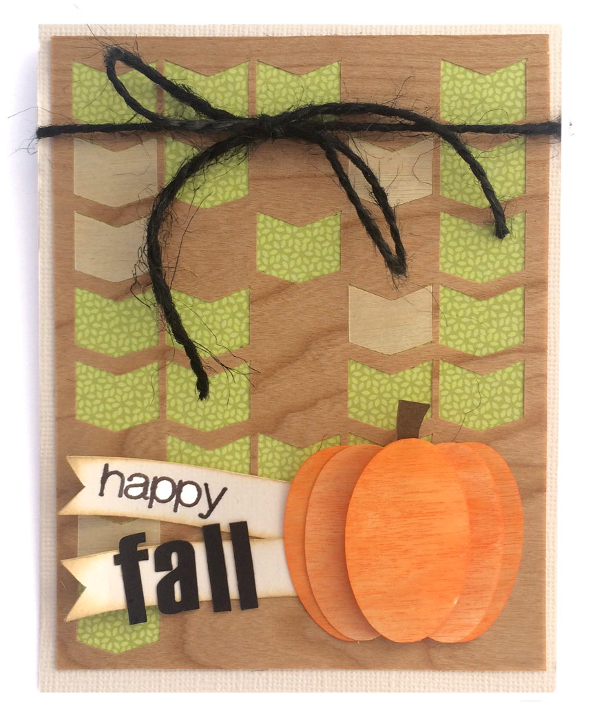 Wood Pumpkin Fall Card