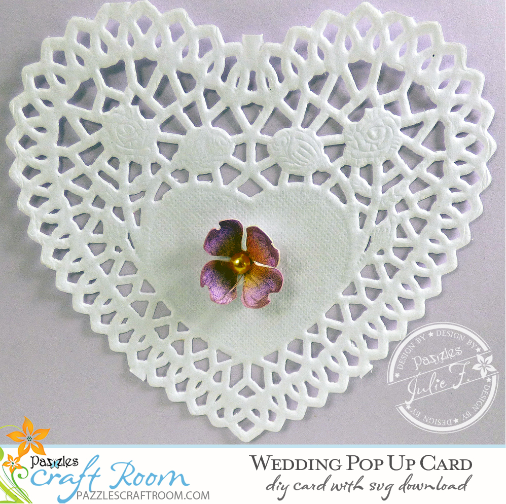 Pazzles DIY Wedding Pop Up Card with SVG download. Instant download SVG compatible with all major electronic cutters including Pazzles Inspiration, Cricut, Silhouette Cameo. Design by Julie Flanagan.