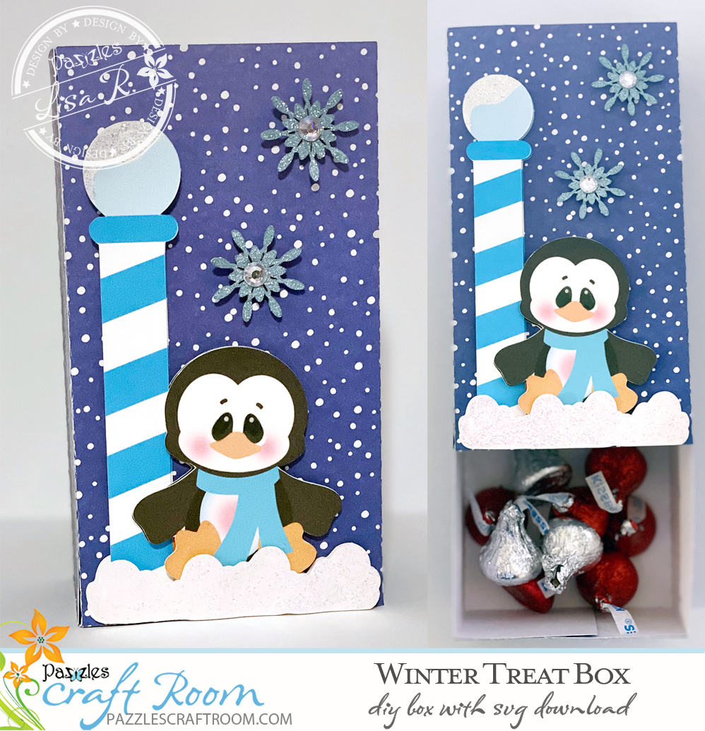 Pazzles DIY Winter Treat Box with instant SVG download. Compatible with all major electronic cutters including Pazzles Inspiration, Cricut, and Silhouette Cameo. Design by Lisa Reyna.