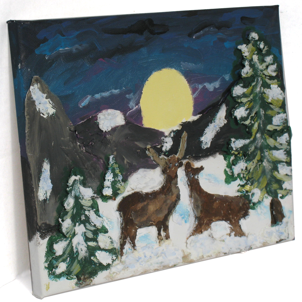 Winter Scene Paper Clay Canvas