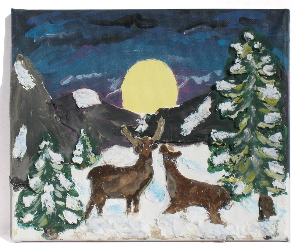 Winter Scene Paper Clay Canvas
