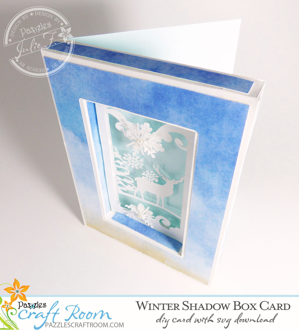 Pazzles DIY Winter Shadow Box Card or Frame with instant SVG download. Compatible with all major electronic cutters including Pazzles Inspiration, Cricut, and Silhouette Cameo. Design by Julie Flanagan.