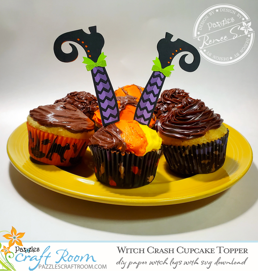 Pazzles DIY Witch Cupcakes with instant SVG download. Compatible with all major electronic cutters including Pazzles Inspiration, Cricut, and Silhouette Cameo. Design by Renee Smart.