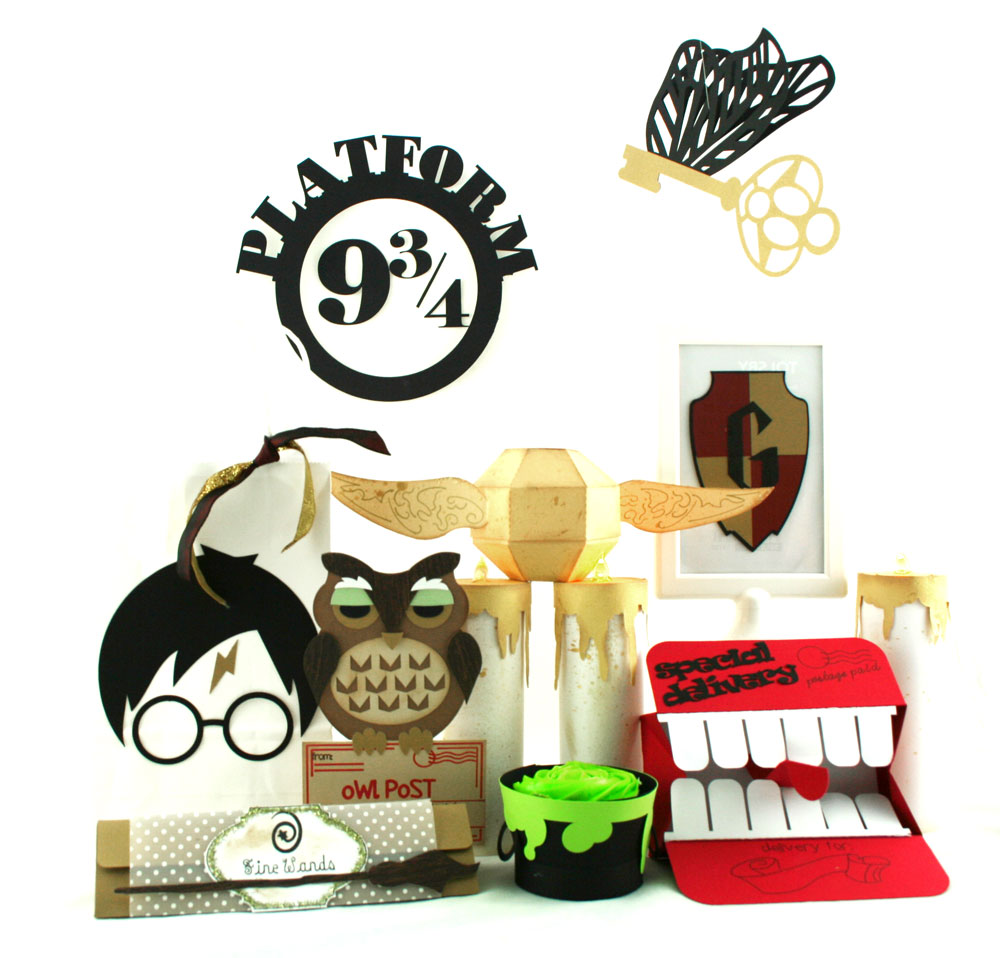 Harry Potter Party set includes Harry Potter crafts and paper party supply ideas. Cut files from Pazzles.