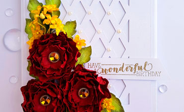 Pazzles DIY Wonderful Birthday Card Red and White with Paper Flowers by Nida Tanweer. Svg Download included, compatible with all major electronic cutters including Pazzles Inspiration, Cricut, and Silhouette Cameo.