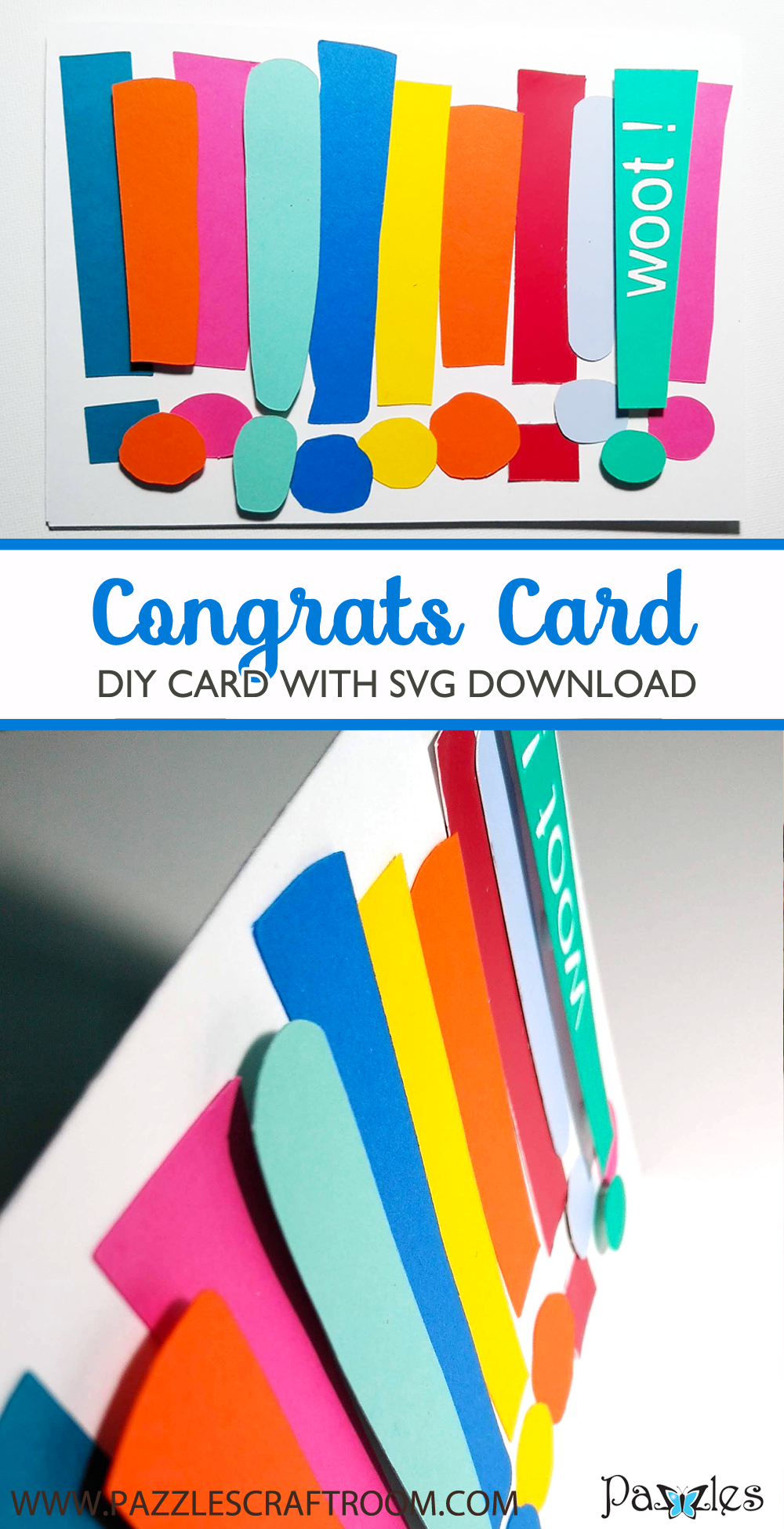 Pazzles DIY Congrats Card with instant SVG download. Compatible with all major electronic cutters including Pazzles Inspiration, Cricut, and Silhouette Cameo. Design by Renee Smart.