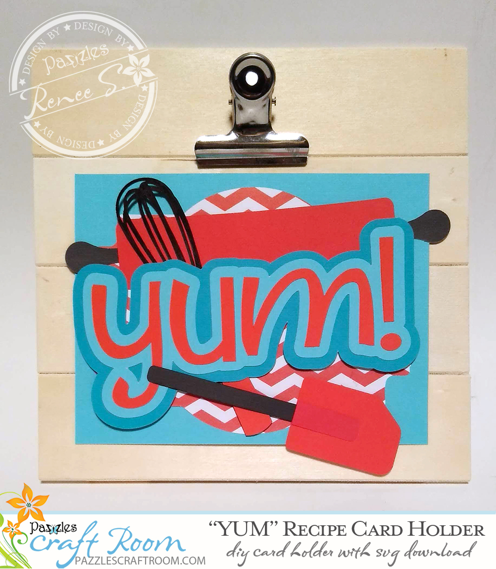 Pazzles DIY Recipe Card Holder with instant SVG download. Compatible with all major electronic cutters including Pazzles Inspiration, Cricut, and Silhouette Cameo. Design by Renee Smart.